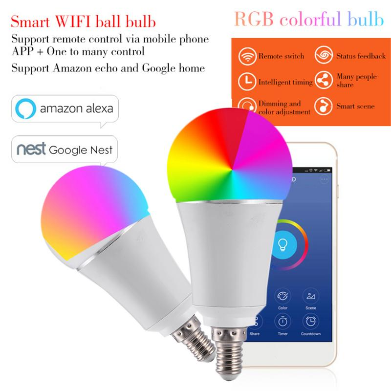 Kaigelin 7 W E27 B22 E14 Smart Home Wireless WiFi LED RGB Bulb Unterstützung Alexa Google Hause Led-lampe Smart wiFi Dimmbare Lampe