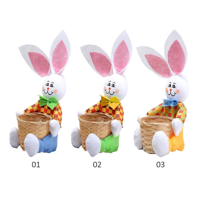 Easter Egg Basket Creative Cute Bunny With Basket Easter Rabbit Basket Easter Gift Candy Egg Storage Basket Kids Bunny Bag
