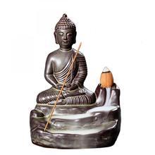 Buddha Ceramic Backflow Incense Burner Ganesha Smoke Waterfall Stick Holder Aromatherapy Furnace Decorative