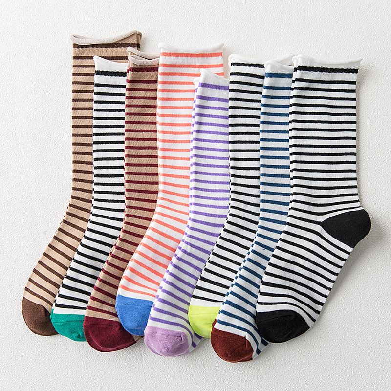 Funny Adjustable Soft Hipster Art Sock Comfortable Elastic Cool 8 Colors Free Size 1Pair Winter Warm Strip Cotton Cartoon Sock