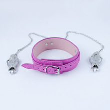 high quality crystal flail with lock sex bdsm bondage restraints handcuffs neck collar fetish erotic toys adult sex toys for men High quality Pu leather collar matel nipple clamps fetish bdsm games bondage restraints erotic toys Adult sex toys for women