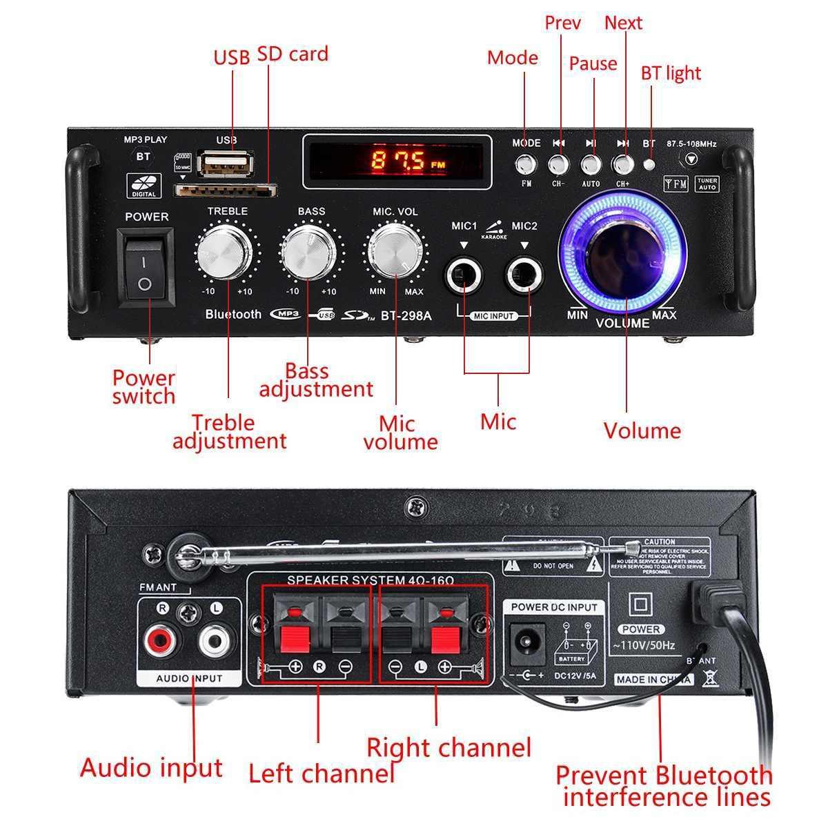 HIFI 2CH аудиомагнитолы автомобильные мощность усилители домашние 600 Вт стерео сабвуфер бас для домашнего кинотеатра, Усилитель Поддержка bluetooth дистанционное управление FM радио