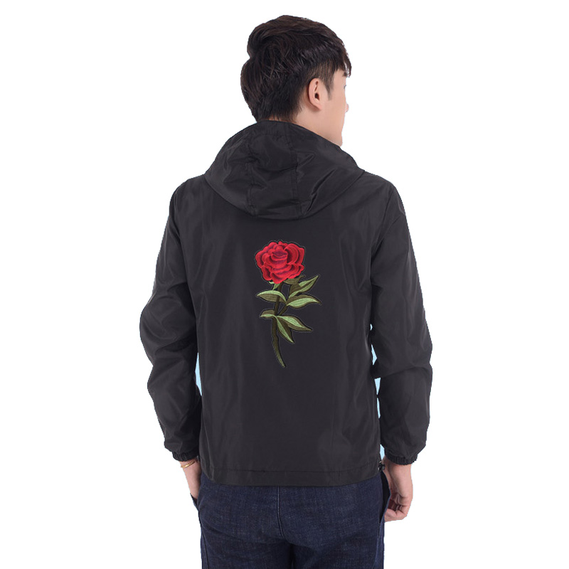 Jacke Mäntel Herren Kleidung Frühling Sommer Grundlegende Dünne Jacke Windjacke Feste Farbe Stickerei Rose Blume Sup Plus Größe S-7XL