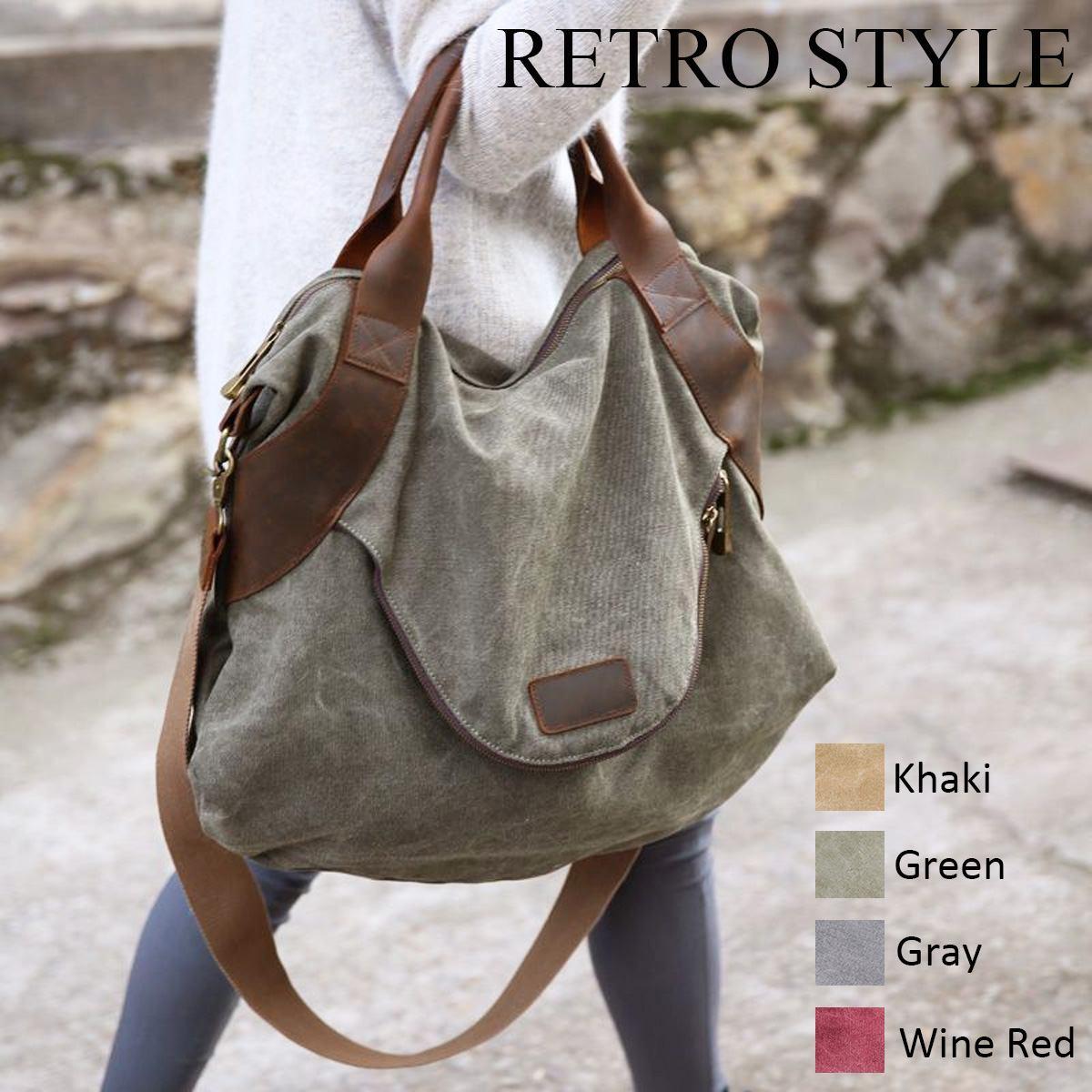 Grandes poches fourre-tout décontracté femmes sac à main épaule sacs à main toile cuir capacité sacs pour femmes