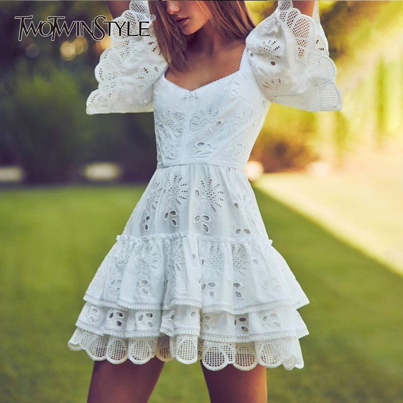 TWOTWINSTYLE Casual Solid Hollow Out Women Dress Square Collar Short Sleeve High Waist Ruffles Mini Dresses