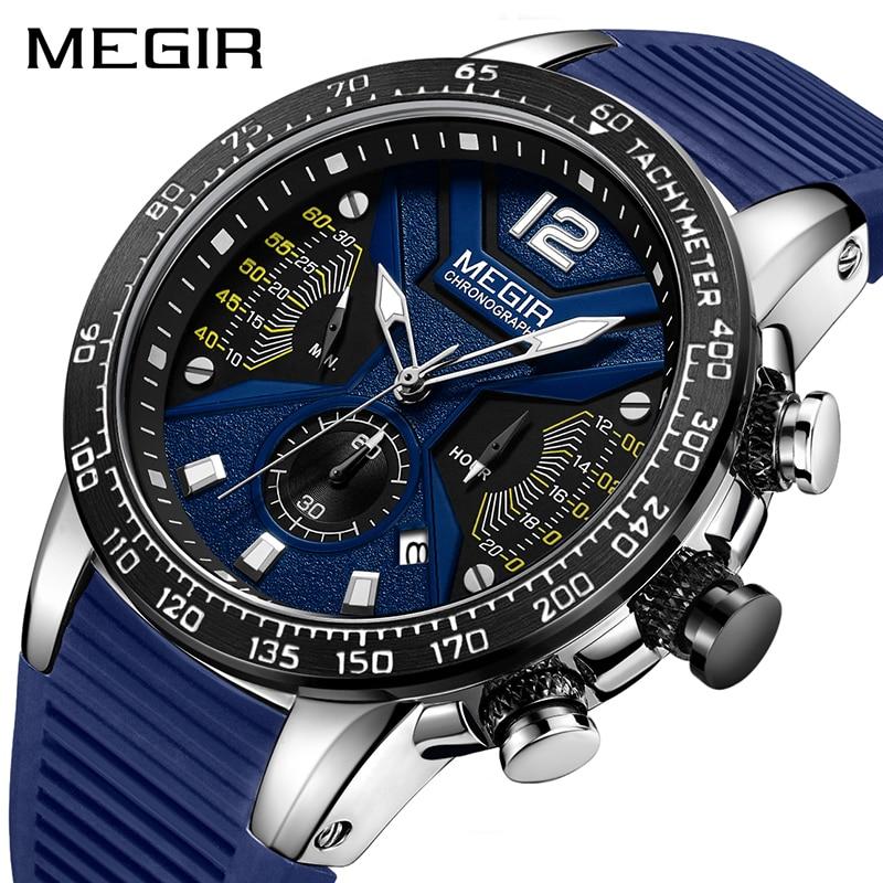 Relogio Masculino MEGIR Männer Uhren Silikon Sport Chronograph Quarz Militär Uhr Luxus Marke Zegarek Meski Erkek Kol Saati