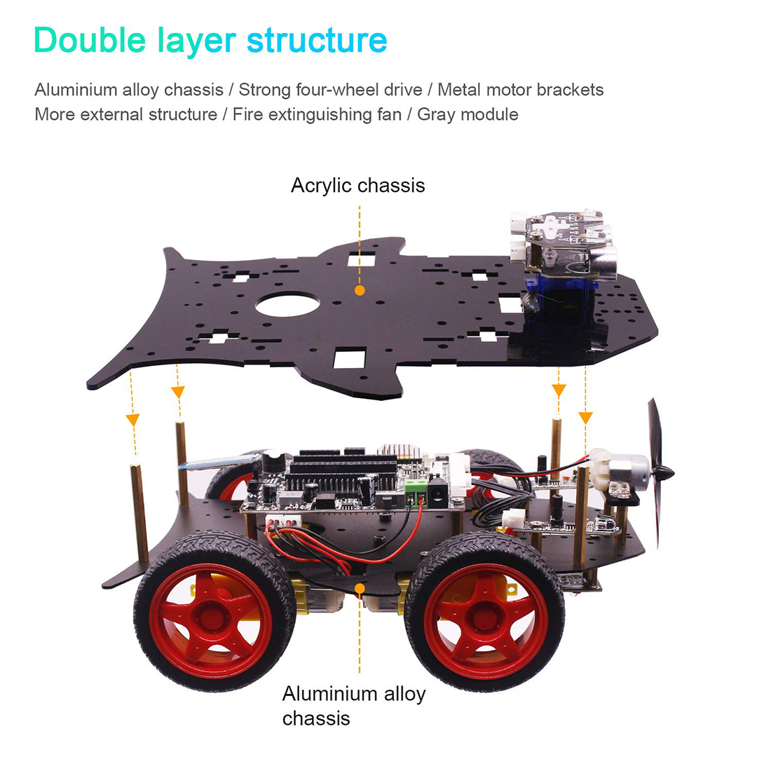 Rowsfire Robot Car 4wd Programming Stem Education Off-road Light Tracking Robot Toys With Tutorial For Arduino Hot Sale