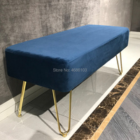 American Bedroom bed end stool change shoe bench clothing store cloakroom bench long chair Ottoman bench stool with Iron legs
