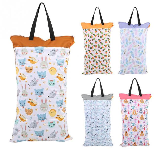 40*70cm Large Hanging Wet/Dry Pail Bag for Cloth Diaper Inserts Nappy Laundry With Two Zippered Waterproof Reusable Nursing Bag