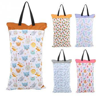 40*70cm Waterproof Wet/Dry Diaper Pail Bag Reusable Doubl Pockets Large Hanging Cloth Diaper Bag Laundry Nappy Wet Bags Diaper Bags