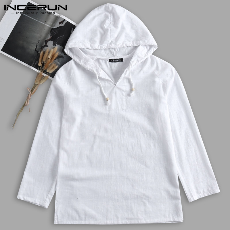 INCERUN Men's Hoodies Sweatshirts Cotton Autumn Men's Clothing Long Sleeve Pullover Hoody Joggers Masculino Casual Shirts Male