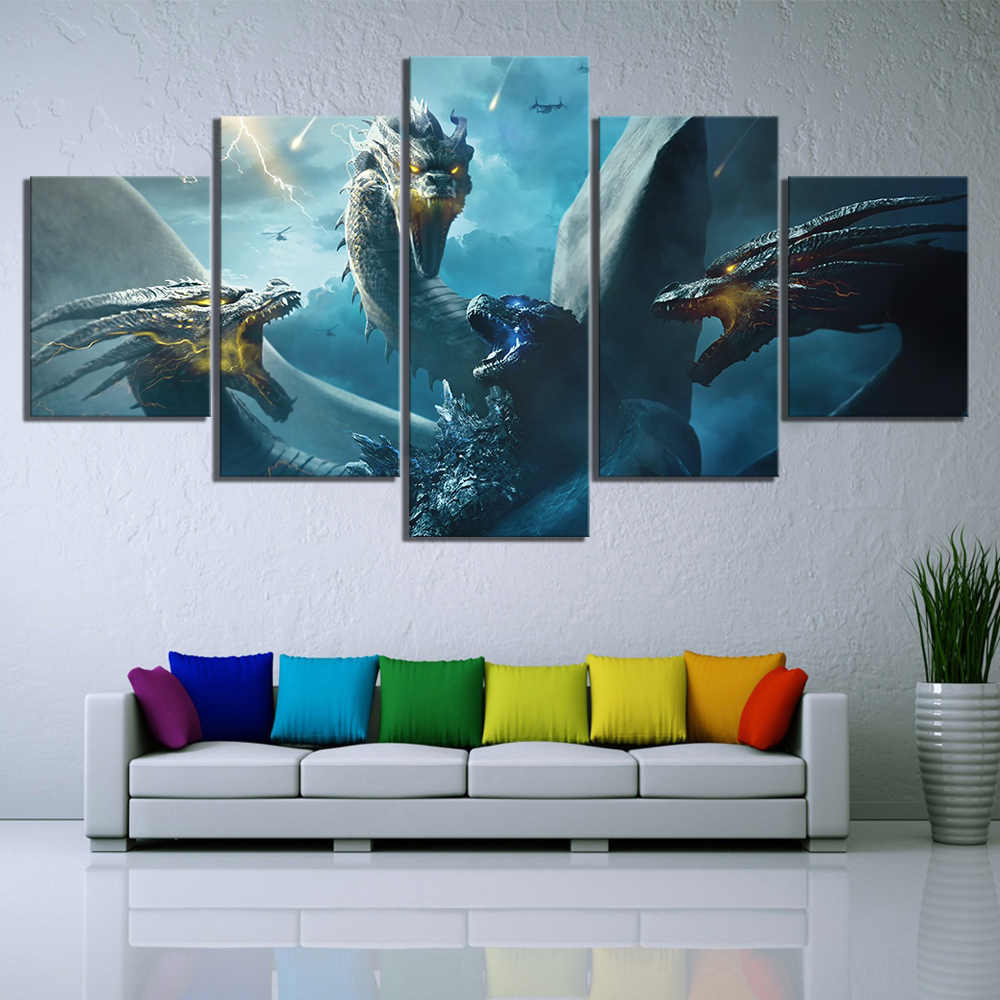 5 Piece HD Fantasy Art Paintings Godzilla King of The Monsters Movie Poster Dragon Pictures Canvas Art Wall Paintings