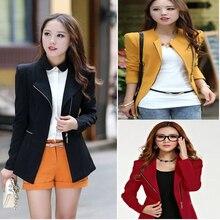 LVOERTUIG Fashion Women Zipper Blazer Suit Lady Formal Outwear Long Sleeve Coat Slim Fit Jacket Tops(,Yellow)