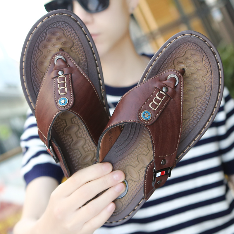 2019 New Brand Men Slippers Summer Beach Shoes Men Flip Flops High Quality Casual Sandals Leather Slip-On Breathable Sandalias(China)