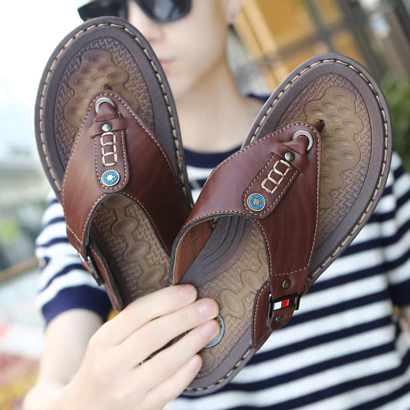 2019 New Summer Shoes Men Beach Flip Flops High Quality Men Slippers Casual Sandals Leather Slip-On Fashion Breathable Footwear