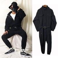 #0115 Hooded Jumpsuit Mens Rompers Zipper Multi pocket Cargo Pants Black Hip Hop Pants Overalls With Belt One Piece Streetwear