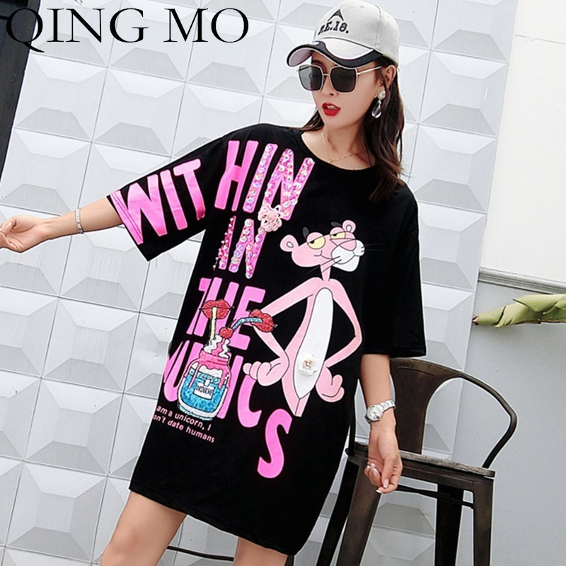 QING MO  Letter Sequins Dress Women Pink Panther Dress Summer Print T Shirt Women Half Sleeve Mini Dresses Oversize Tops QF668 Платье