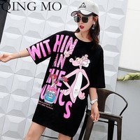 QING MO Letter Sequins Dress Women Pink Panther Dress Summer Print T Shirt Women Half Sleeve Mini Dresses Oversize Tops QF668