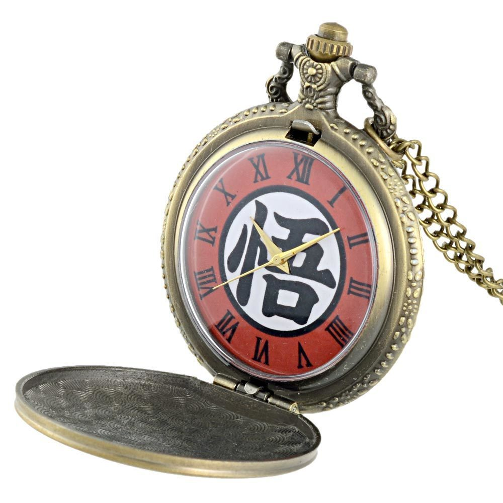 IBEINA Dragon Ball Theme Full Hunter Quartz Engraved Fob Retro Pendant Pocket Watch Chain Gift