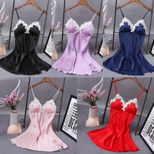New Sexy Lingerie Women Silk Mini Dress Babydoll Solid Color Sleeveless V-Neck Nightdress
