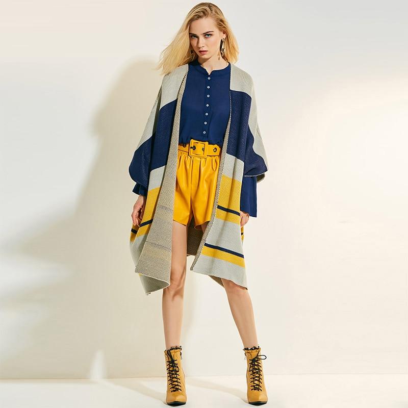 Women Autumn Winter Sweater Gray Yellow Patchwork Long Open Sweaters Knitwear Coats Three Quarter Blue Loose