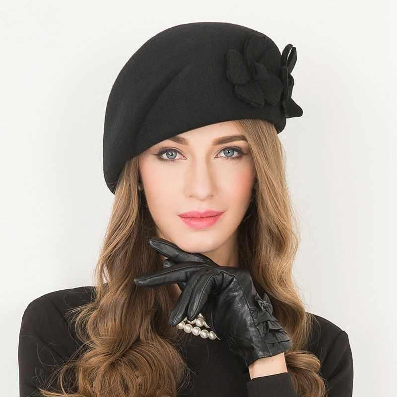 Fascinator sombrero de fieltro de lana de las mujeres rosa sombreros mujer  negro de cóctel Vintage 17537aef10f