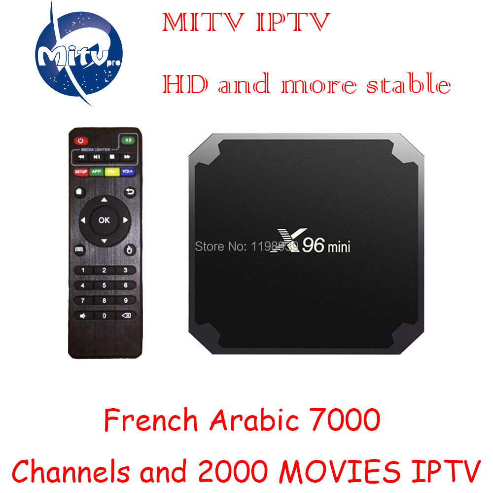 MITVPRO Iptv subscription android tv box X96 mini 7000 channels French Arabic Europe Spanish Italian full