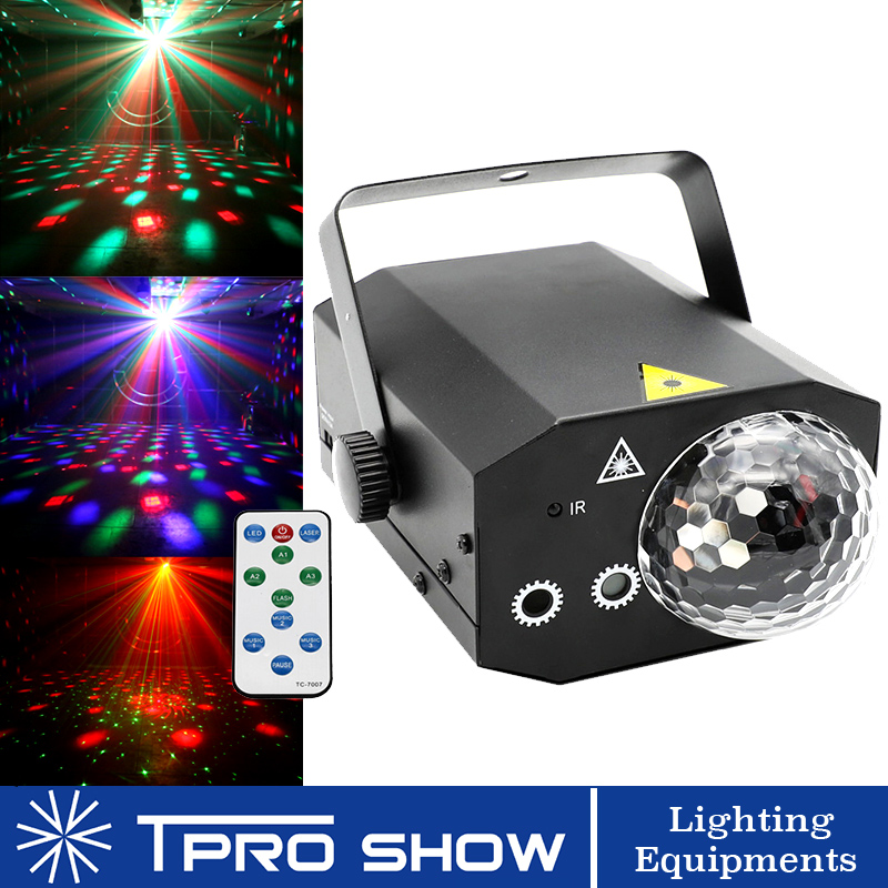 2in1 Laser Light RGB LED Disco Ball Stage Lighting Effect Music Remote Control RG Lazer Projector Mini For DJ Disco Stage Club