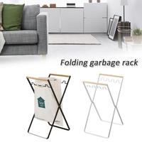Nordic Folding Wrought Iron Garbage Bracket Kitchen Living Room Multi function Savings With Hook Storage Rack Household Items