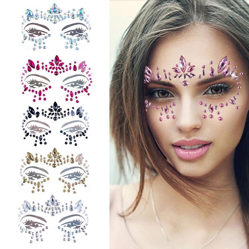 Music Festival Face Diamond Sticker Green Resin Eyebrow Diamond Sticker Festival Party Face Jewelry Tattoo Sticker For Ladies