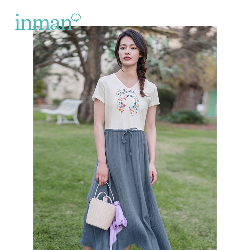 INMAN 2019 Summer New Arrival V neck Literary Embroidery Defined Waist Slim Mock Two piece Short