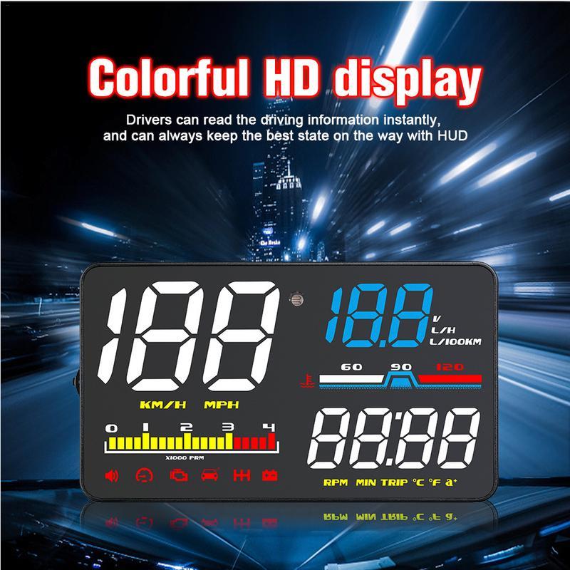 5-pouces HUD Voiture Head Up Display led Pare-Brise Projecteur OBD2 Scanner Vitesse Avertissement Carburant Consommation Données De Diagnostic