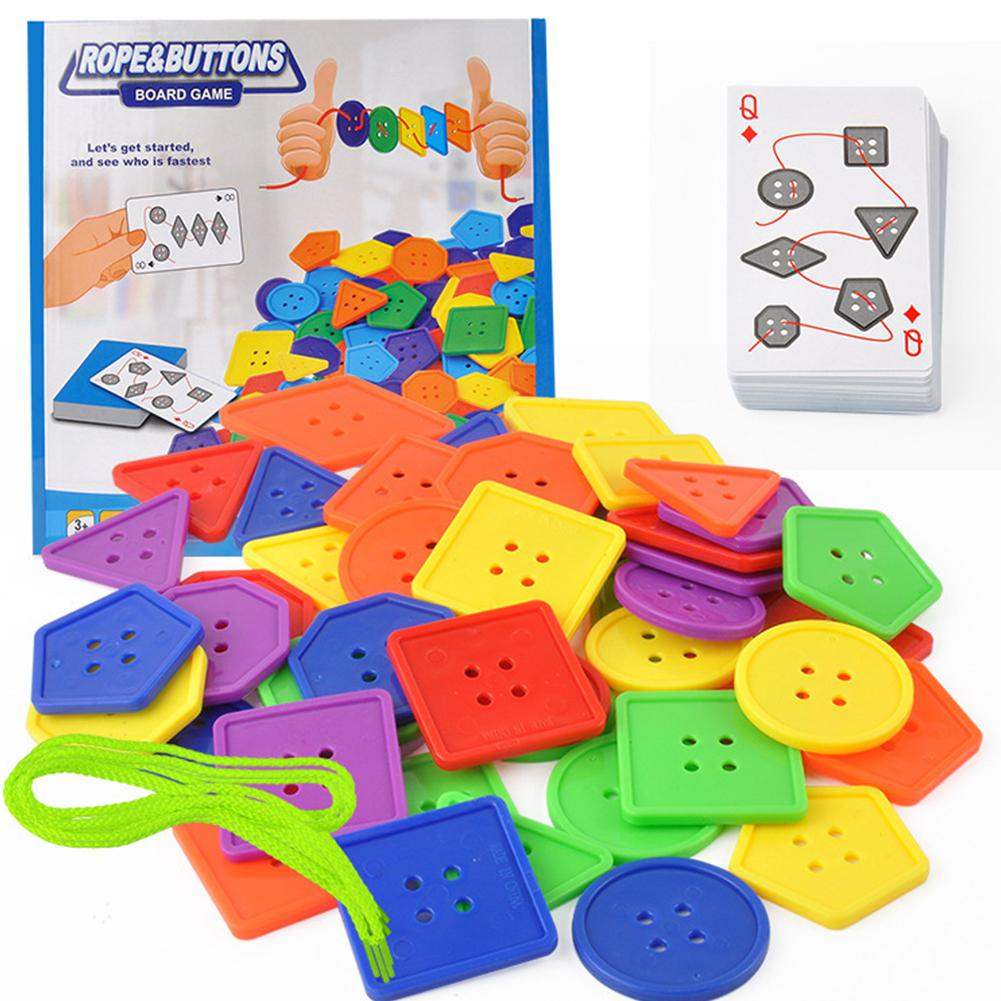 RCtown Kids Fine Motor Skills Tabletop Beaded Toys With Buttons Rope Parent Child Game Sewing Play Kit Educational Toy