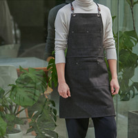 Black Gray Denim Apron Barber Hairdresser Florist Artist Work Wear Barista Bartender Baker Coffee Shop Pastry Chef Uniform D96
