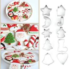 10 unids/set cortador de galletas de Navidad de acero inoxidable molde de galletas de caramelo herramientas de cocina molde de cortadores de tema de Navidad