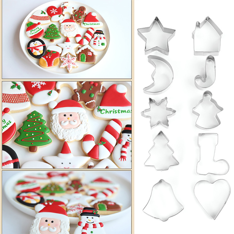 10Pcs/set Christmas Cookie Cutter Stainless Steel Cut Candy Biscuit Mold Cooking Tools Christmas Theme Cutters Mould