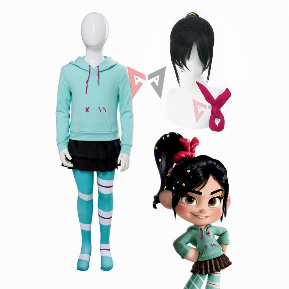 Wreck-It Ralph Vanellope Von Schweetz Cosplay Costume For Kids Children Hoodies Skirt Tight Headband Anime Set Custom Made Size