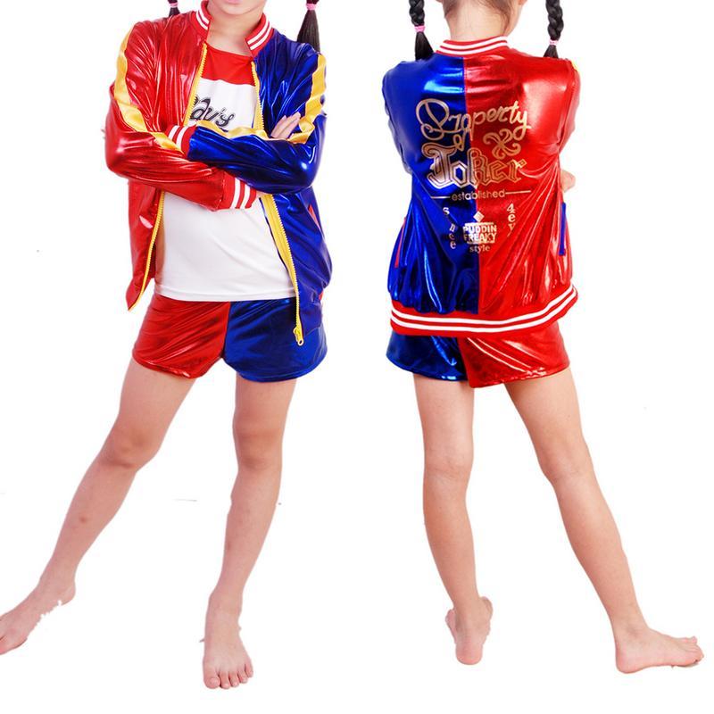 Sincere Girls Kids Suicide Squad Harley Quinn Costume Cosplay Joker Suicide Squad Halloween Purim T Shirt Top Jacket Pants Sets