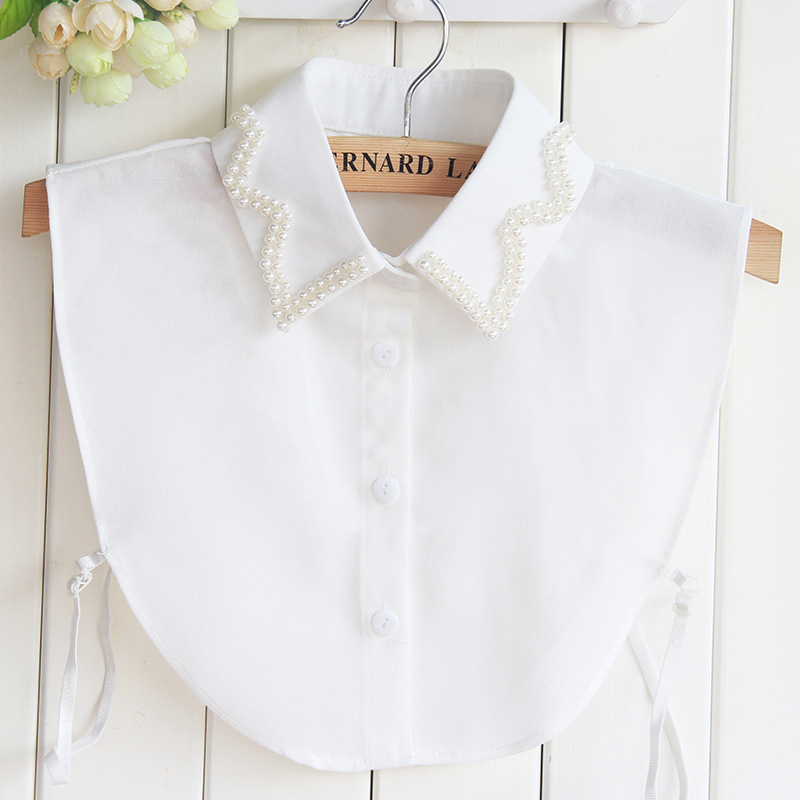 New Pattern Dickie Nail Pearl White Shirt Women Dickie Pearl Womens Tops And Fake Collar Blouses Wholesale Drop Shipping