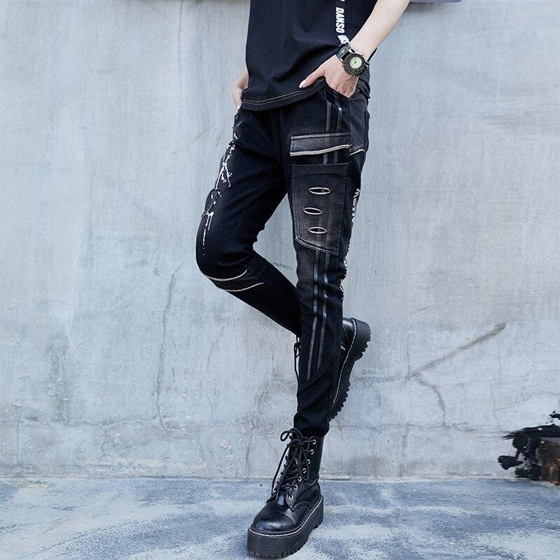 US $32.96 23% OFF Max LuLu Luxury Korean Designer Ladies Punk Harem Pants Womens Printed Black Jeans Holes Push Up Pantolon Female Denim Trousers in