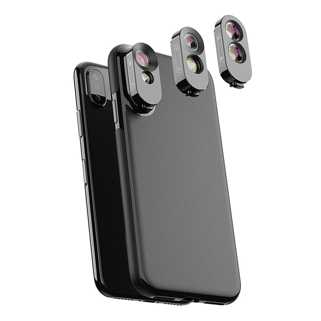 Mobile Phone Lens Wide Angle Lens Telephoto And Fish Eye Lens Professional Camera Photography Lens Kit Case for iPhone X/XSMobile Phone Lens Wide Angle Lens Telephoto And Fish Eye Lens Professional Camera Photography Lens Kit Case for iPhone X/XS