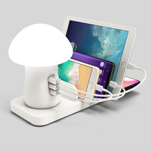 Snelle Draadloze Oplader Led Paddestoel Nachtlampje 3 Port Usb Charger Voor Iphone Samsung Huawei Android Qi Draadloze Opladen Station