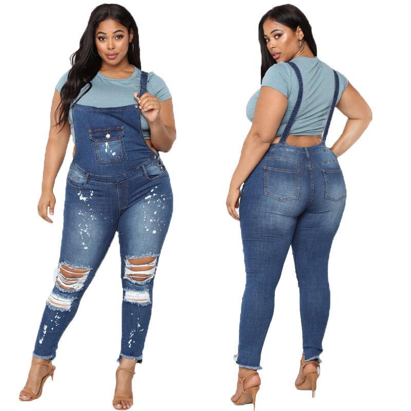 8dfa9311a38 HomeBottomsJeansSkinny Ripped Denim BIB Jeans Lady Romper Jumpsuit  Overalls. -11%. 🔍. 1  2