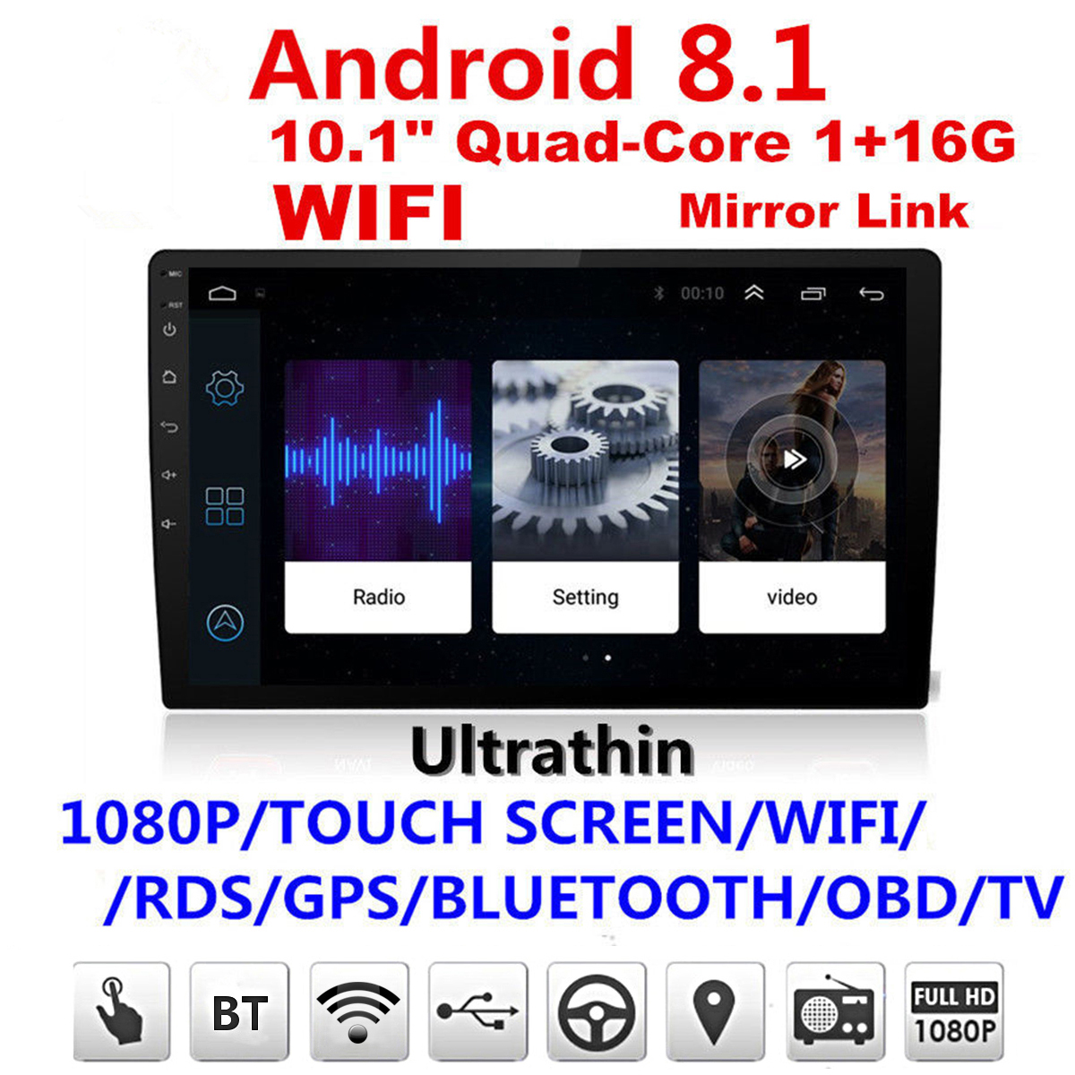 Автомагнитолы Видео Android 8,1 стерео 2DIN Bluetooth WI-FI gps Nav 4 ядра Радио Видео MP5 плеер 10,1 ''дюймовый