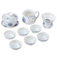 10pcs / Set Teaware Sets Hollow Style Blue Sunflower Porcelain Tea Kit Tea beach Covered Teacup Bowl Filter