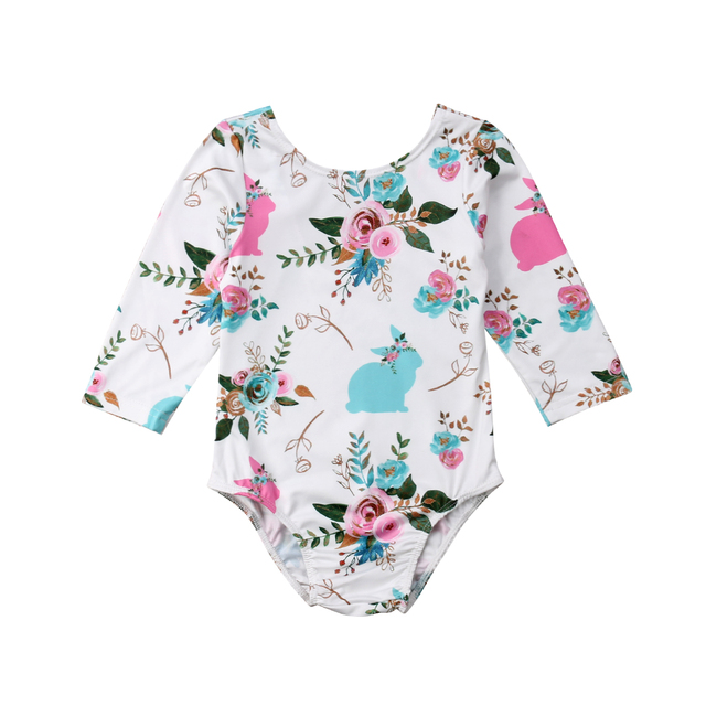 b8fe8172b17c Newborn Baby Girls Easter Romper Floral Long Sleeve Backless Rabbit Pattern Jumpsuit  Playsuit with Hair Ball Tail-in Rompers from Mother   Kids on ...