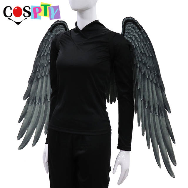44e2ecab3a8 Cospty Halloween Adult Girl Angel Cosplay Devil Costume Demon Dress Big  Large Black Wings