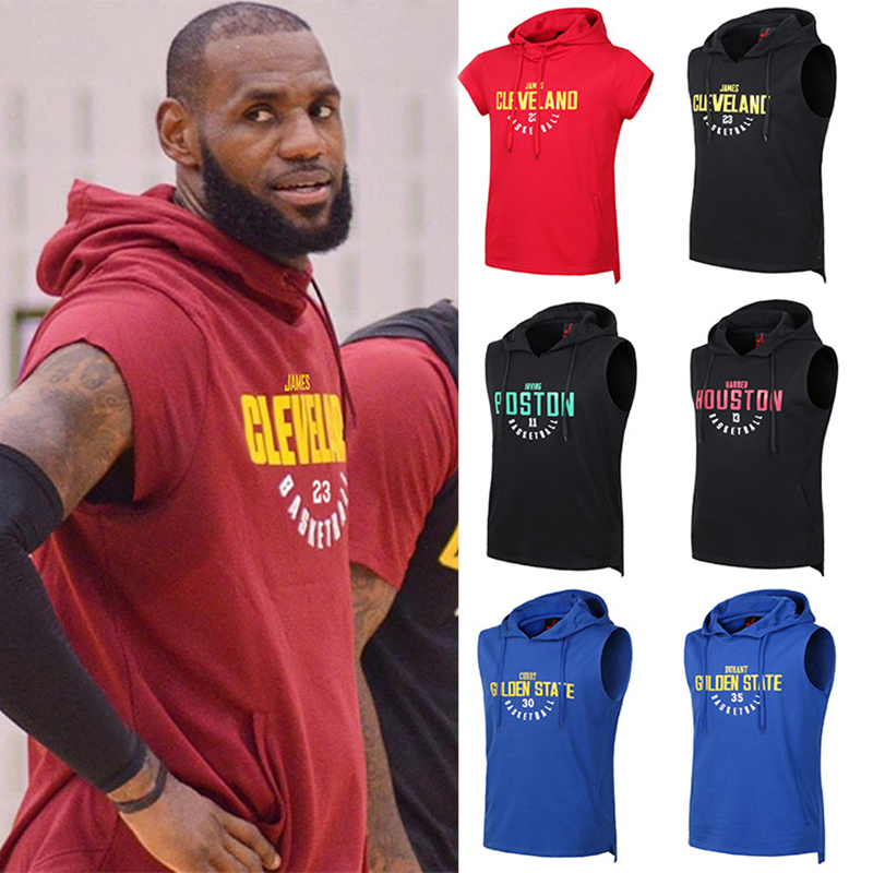 USA Basketball Sports Hoodies Durant/James/Harden/Bryant training suit loose sleeveless hooded basketball vest training clothes