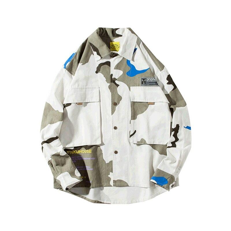 2019 printemps et automne nouveau rétro marée marque Camouflage hommes col chemise lâche couleur correspondant marée hommes veste M-2XL