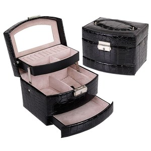 Image 2 - 自動革の宝石箱三層収納ボックス女性のためのイヤリングリング化粧品オーガナイザー棺装飾用黒